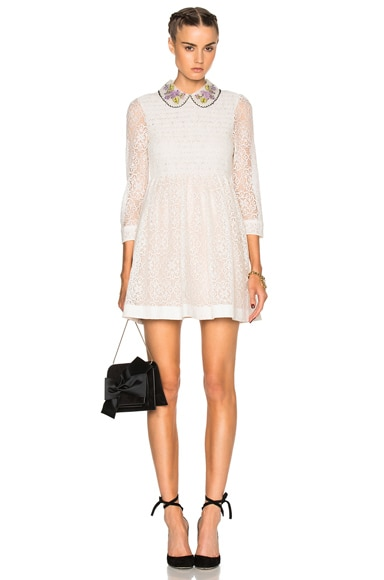 Red Valentino Collared Lace Mini Dress in Ivory