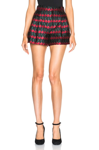 Red Valentino Cherry Printed Shorts in Black