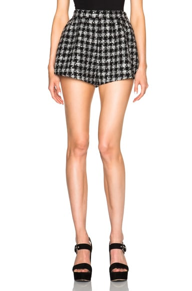 Red Valentino Tweed Short in Grey Melange