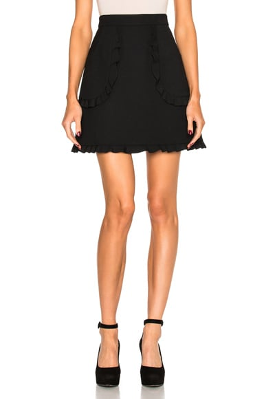 Red Valentino Scalloped Mini Skirt in Black