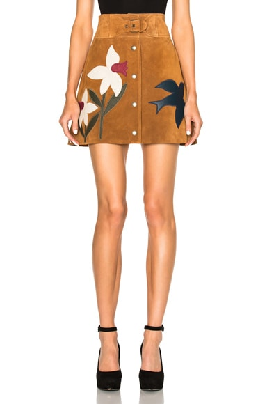 Red Valentino Suede Patch Mini Skirt in Cognac