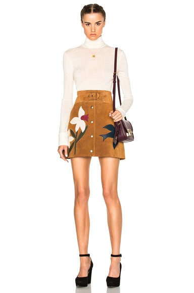 Suede Patch Mini Skirt