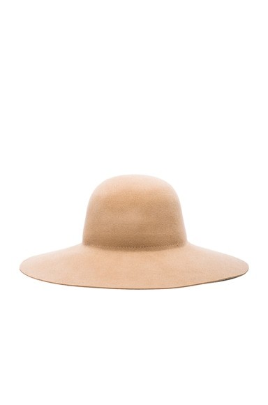 Ryan Roche Wool Suede Hat in Camel Suede