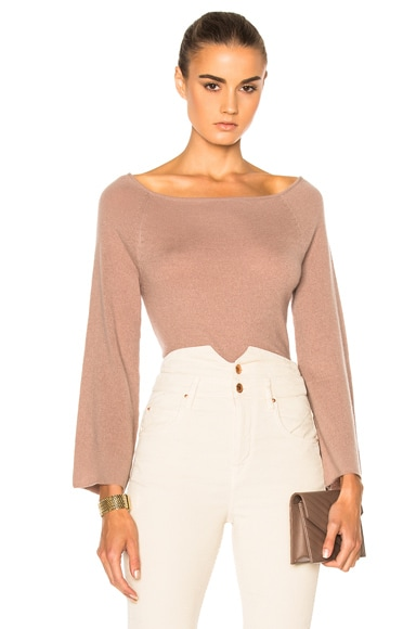 Ryan Roche FWRD Exclusive Bell Sleeve Bodysuit in Mauve
