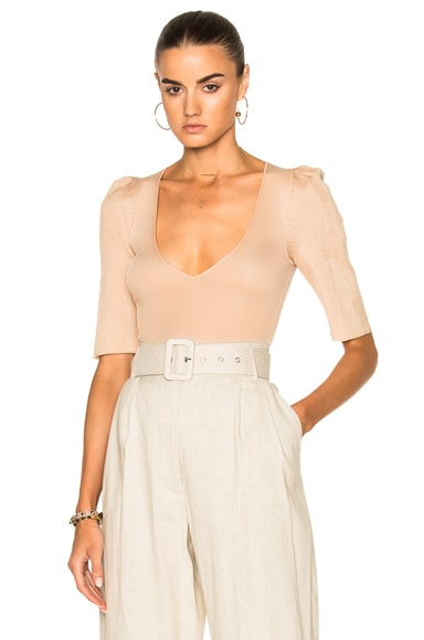 Bodysuit with Structured Puff Sleeves