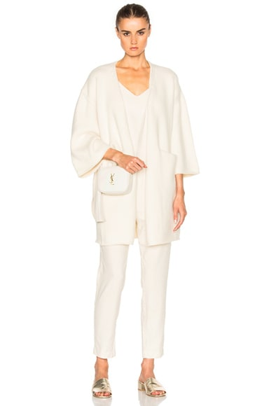 Ryan Roche Cashmere Open Cardigan in Ivory
