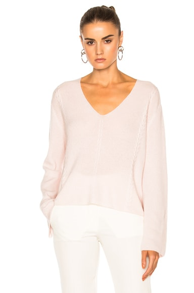 Ryan Roche FWRD Exclusive V Neck Knit Sweater in Champagne Pink