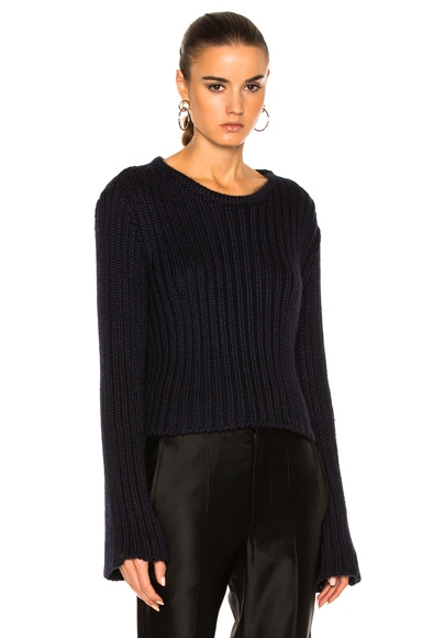 Ryan Roche Cropped Ribbed Sweater in Black & Navy