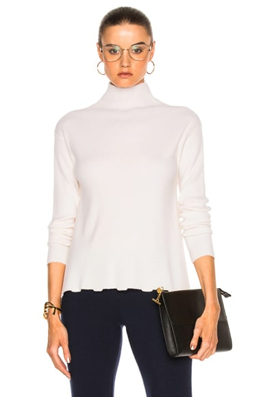 T-Neck Bottom Ruffle Sweater