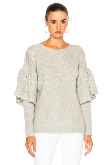 Ryan Roche Ruffled Sleeve Drop Shoulder Sweater in Light Gray