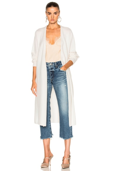 Ryan Roche Long Cardigan Jacket with Belt in Ivory