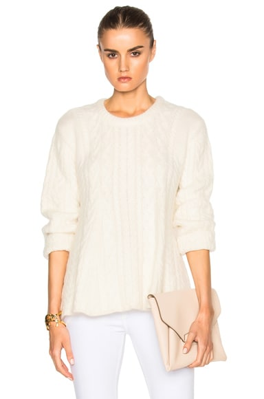 Ryan Roche Cable Sweep Sweater in Ivory