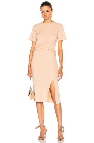 Bottom Slit Fitted Skirt