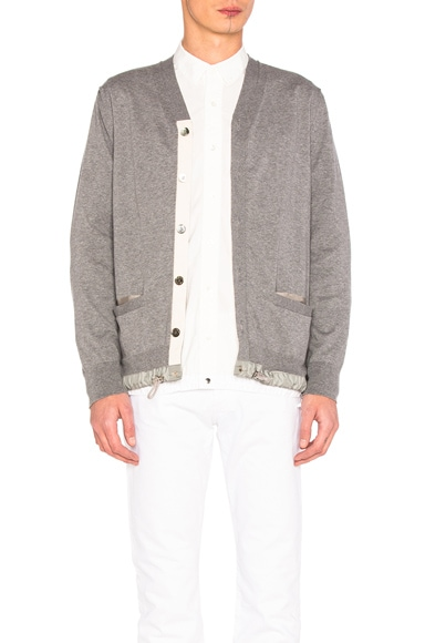 Sacai Cotton Cashmere Knit Cardigan in Light Grey