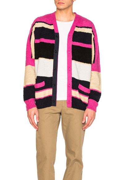 Sacai Stripe Knit Cardigan in Pink Multi
