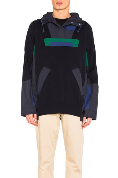 Sacai Cotton Knit Blouson in Navy