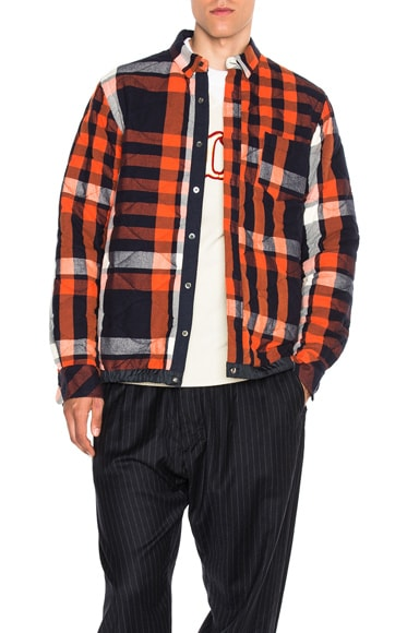 Sacai Elastic Shirt in Navy, Orange & Off White