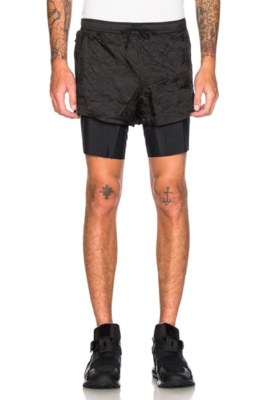 Satisfy Long Distance Shorts in Wrinkled Black