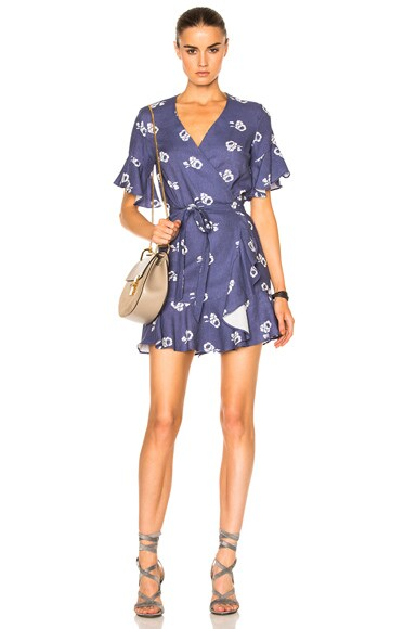Sea Floral Ruffle Dress in Blue