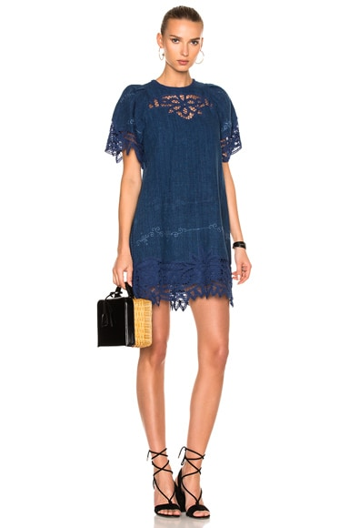 Sea Battenburg Puff Sleeve Shift Dress in Indigo