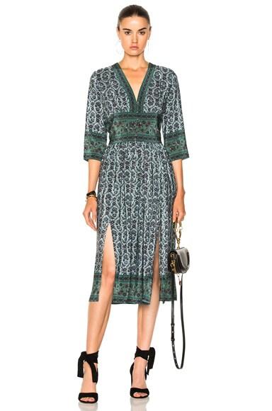 3/4 Sleeve Slit Midi Dress