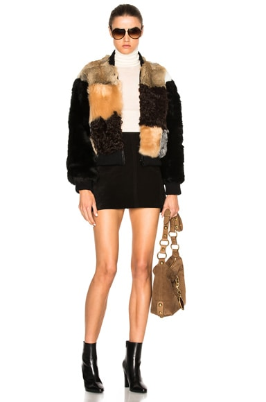 Patchwork Fur Bomber Jacket