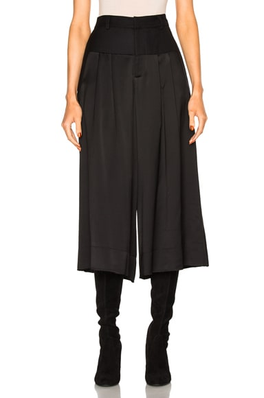 Sea Satin Wool Pants in Black