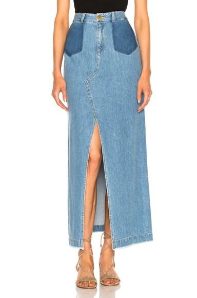 Sea Maxi Slit Denim Skirt in Blue
