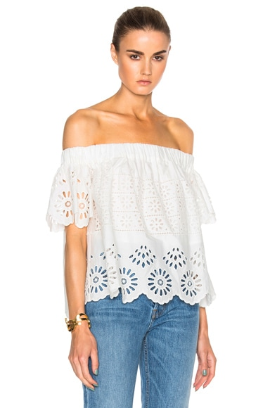 Sea Eyelet Off The Shoulder Top in White