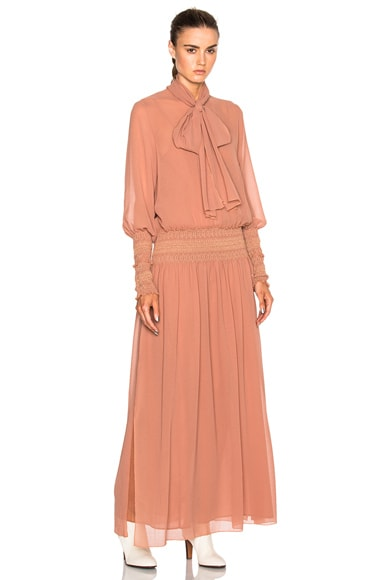 See By Chloe Long Sleeve Maxi Dress in Dusty Pink