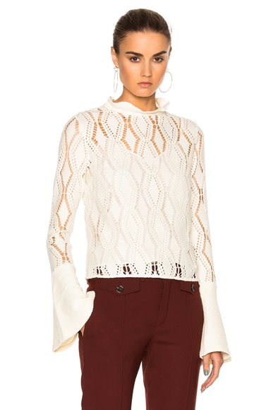 See By Chloe Bell Sleeve Sweater in Winter White