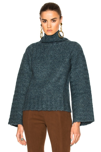 See By Chloe Flare Sleeve Sweater in Frosty Green