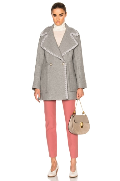 See By Chloe Wool Coat in Aspen Light Grey