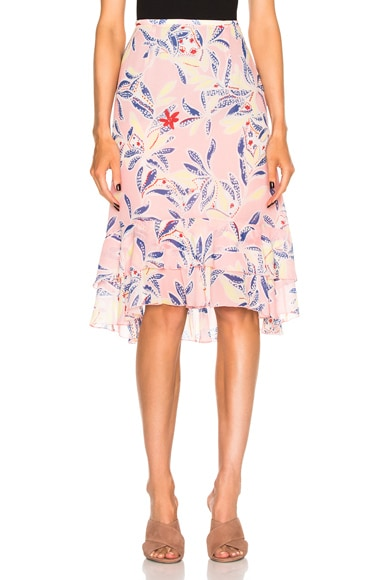 See By Chloe Printed Skirt in Flamingo