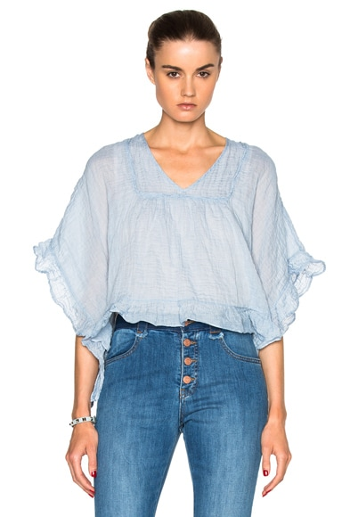 See By Chloe Ruffled Edge Gauze Top in Forever Blue