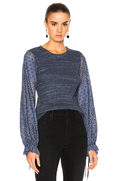 See By Chloe Long Sleeve Jersey Top in Indigo