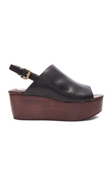 See By Chloe Leather Slingback Wedge in Black