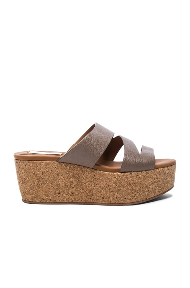 See By Chloe Leather Dania Wedge Sandals in Khaki