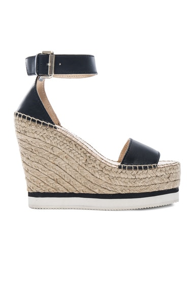 See By Chloe Leather Glyn Espadrille Wedges in Black