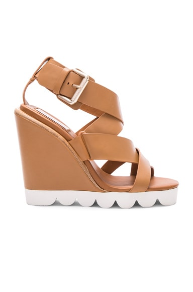 See By Chloe Leather Tiny Wedges in Cognac