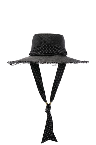 Long Brim Boater Hat with Frayed Brim