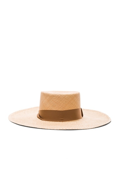 SENSI STUDIO Two Tone Brim Cordovez Hat in Natural & Caramelo