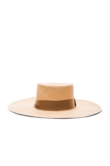 SENSI STUDIO Two Tone Brim Cordovez Hat in Natural & Caramelo