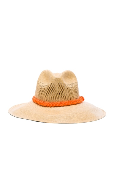 SENSI STUDIO Long Brim Panama Hat in Beige & Orange
