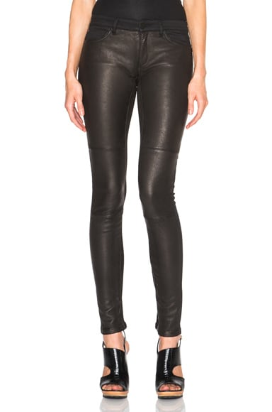 Superfine Flash Friend Leather Jeans in Black