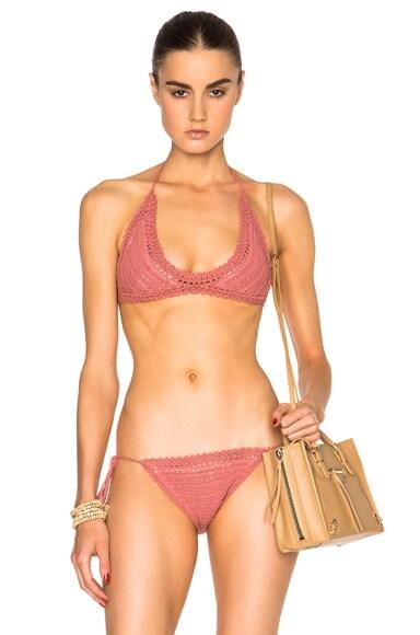 SHE MADE ME 70s Halter Bikini Top in Rose