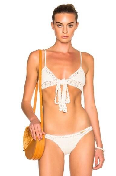 SHE MADE ME Wrap Triangle Bikini Top in Natural
