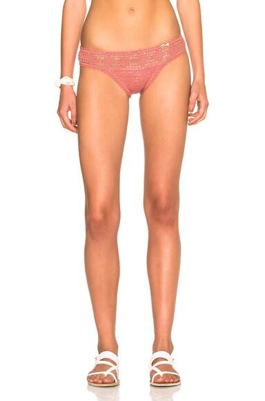SHE MADE ME Hania Mid Rise Bikini Bottom in Rose