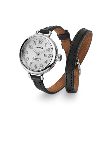 Shinola The Birdy 34mm in Black & Pearlized Silver