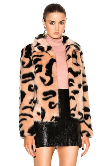 Shrimps Faux Fur Bridgette Jacket in Blush & Black